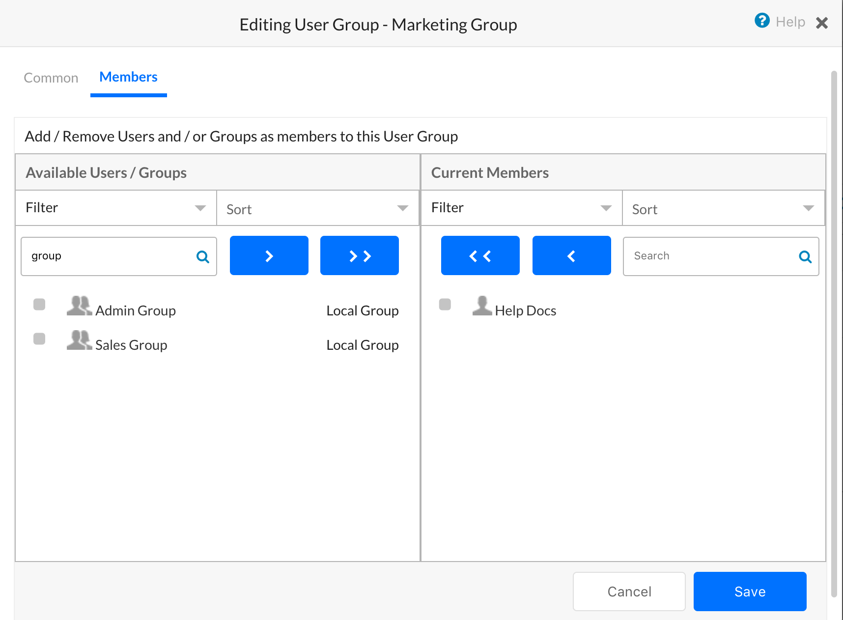 Editing User Groups