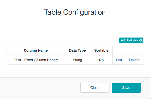 Table Configuration Dialog - Fixed Column Report