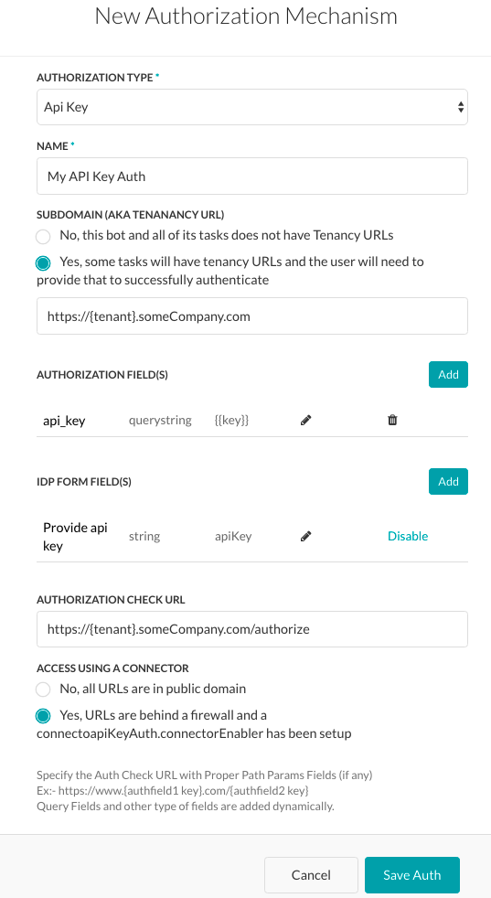 Authorization Tab - API Key Dialog