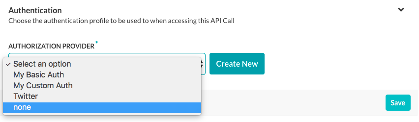 Action Task - API Request Tab - Authentication Section Options