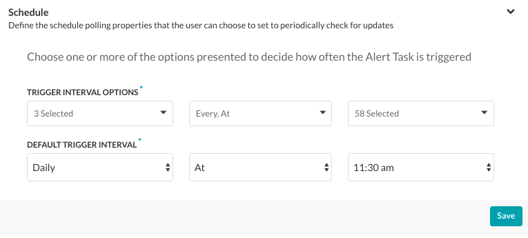 Alert Task - Settings Tab - Schedule Section