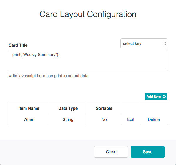Card Layout with Group By Report - Card Layout Configuration DIalog