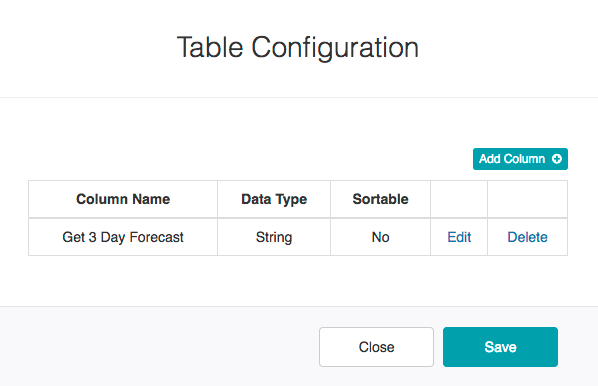 Weather Info Report - Table Configuration DIalog