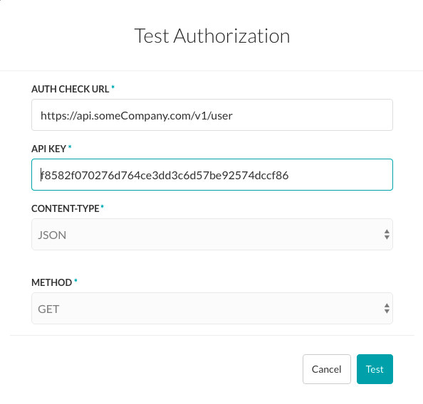 Test Authorization - API Key