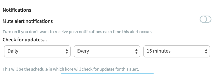 Notification Settings for an RSS Alert Task