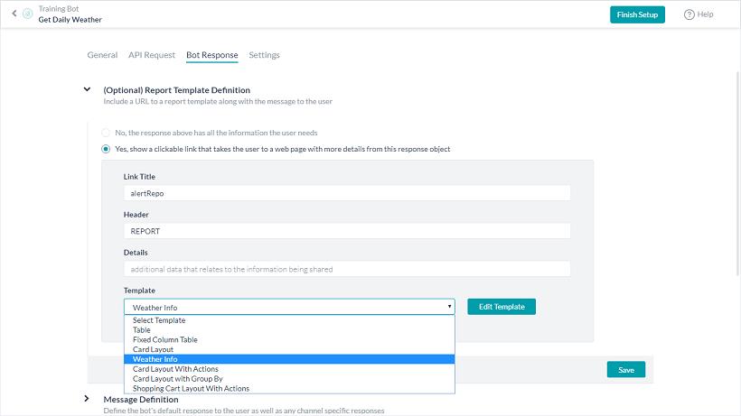 Alert Task - Bot Response Tab - Report Section