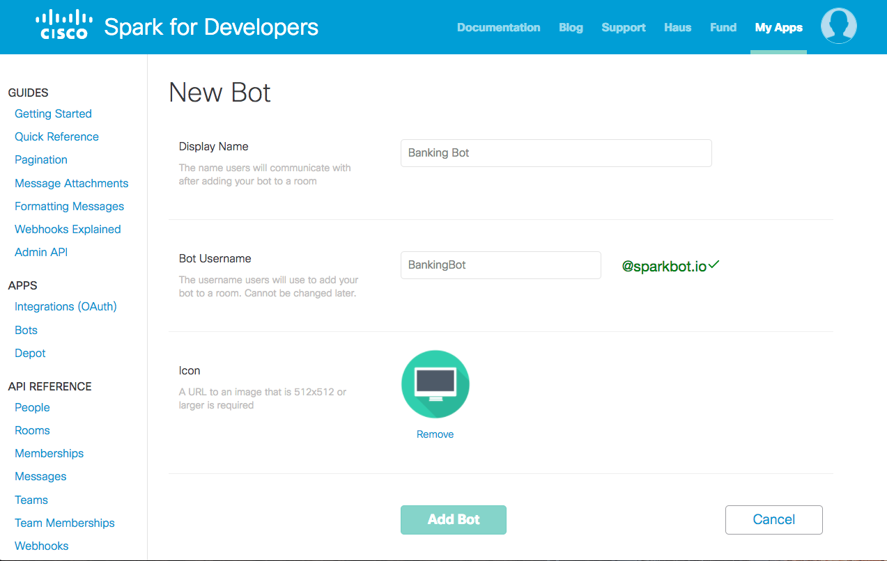 Adding a New Bot in Cisco Spark Developer Portal