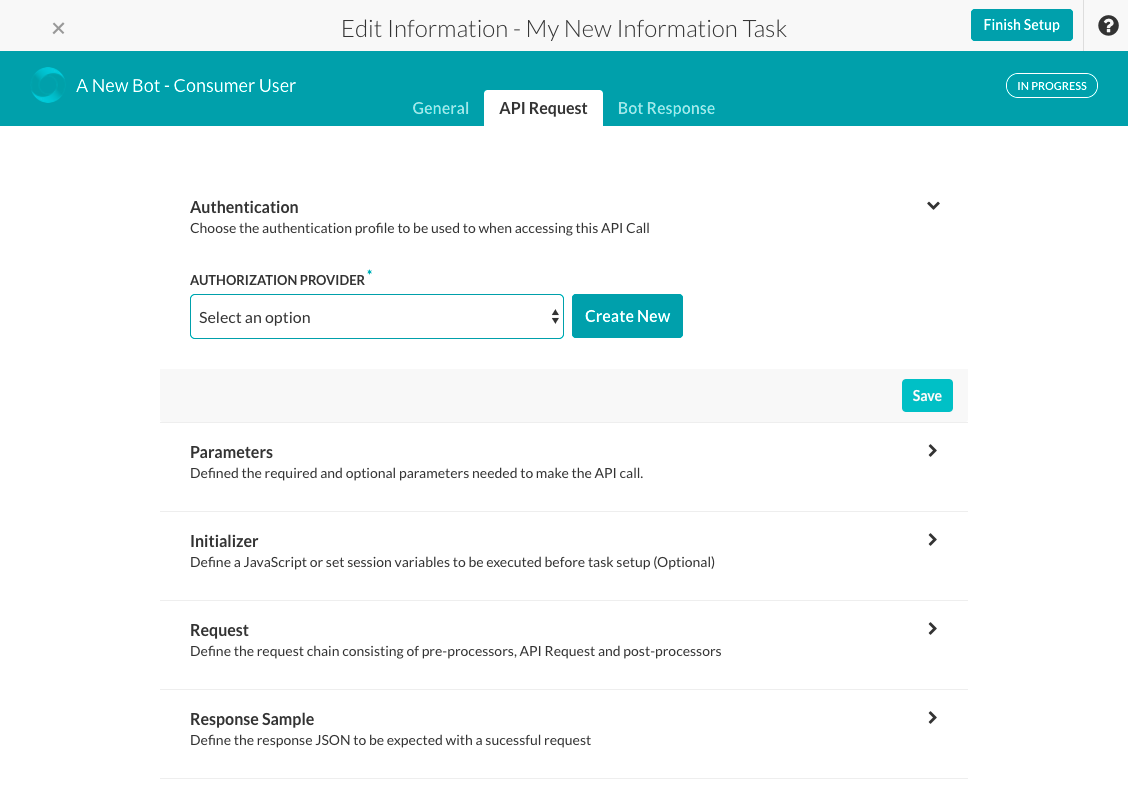 Information Task - API Request Tab - Authorization Section