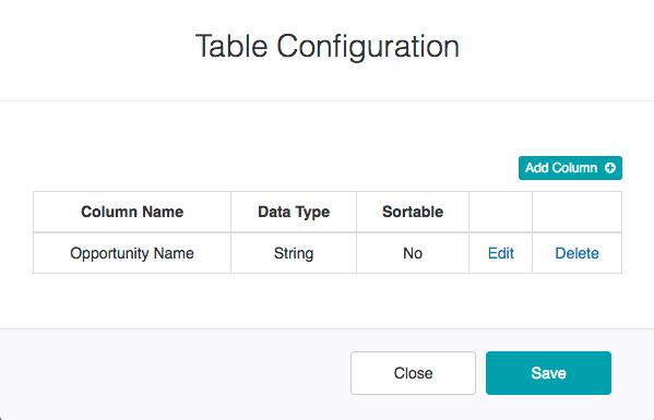 Table Configuration Dialog