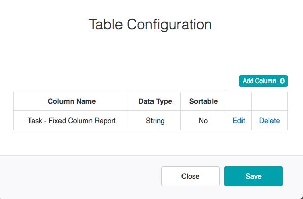 Table Configuration Dialog - Fixed Column Report