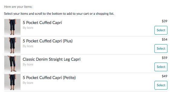 Shopping Cart Layout with Actions Report