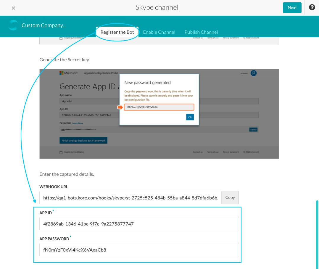 Skype Channel - Register the Bot Tab