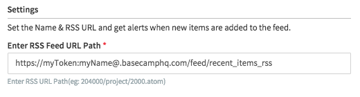 Setup URL for an RSS Alert Task